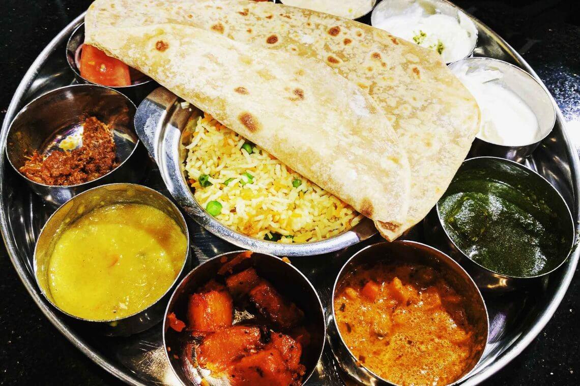 Indian Thali på Saravana Bhavan restaurant i Amsterdam