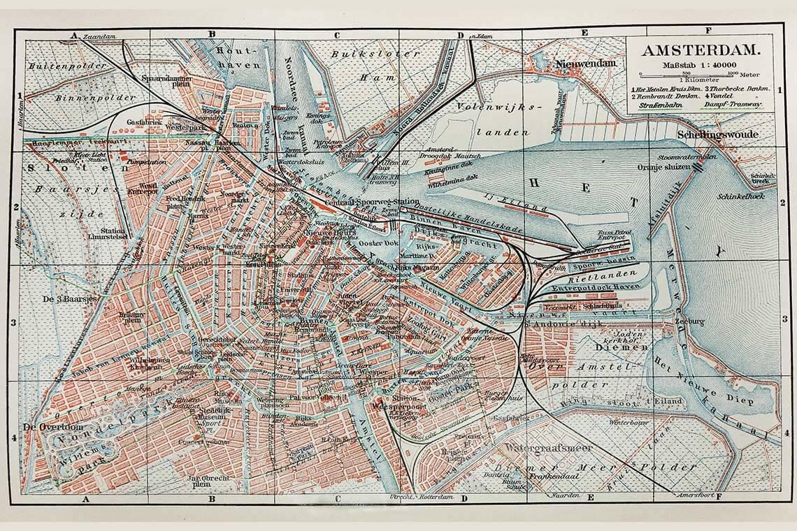 Gammal Karta över Amsterdam